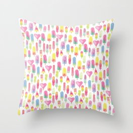 Watercolor Ice-cream and Popsicles Throw Pillow