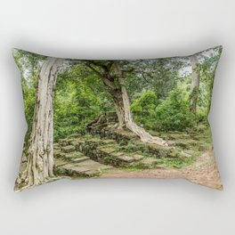 Strangler Fig Trees and Stones in the Angkor Archaeological Park, Siem Reap, Cambodia Rectangular Pillow