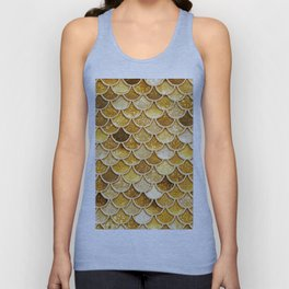Gold Trendy Glitter Mermaid Scales Unisex Tank Top