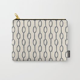 Pebble Dot Stripes Gray on Rose Petal Cream Carry-All Pouch