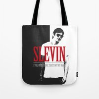 scarface Tote Bags featuring Lucky Scarface Slevin. by Agu Luque