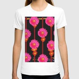 Fuchsia Gerber Daisy Flowers & Black Patterns T-shirt