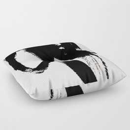 Brushstroke 2 - simple black and white Floor Pillow