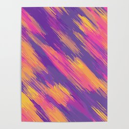 pink blue yellow orange drawing and painting abstract background Poster
