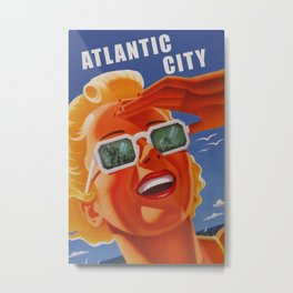 Vintage Atlantic City NJ Travel Metal Print