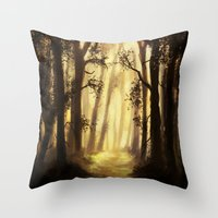 forrest Throw Pillows featuring The forrest by Richard Eijkenbroek