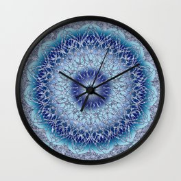 Frosted Lotus Mandala Blue Wall Clock