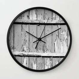 Gray Paint Chipped Fence Wall Clock
