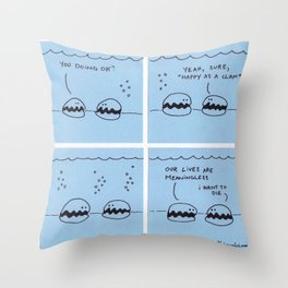 Happy As A Clam - Original Comic Throw Pillow