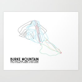 Burke Mountain, VT - Minimalist Trail Art Art Print