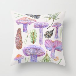 Wood Blewits and Pine - Botanical Throw Pillow