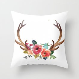 Floral Deer Antlers Throw Pillow