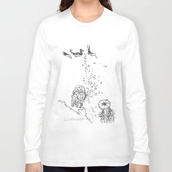 Two Tailed Duck and Jellyfish White Long Sleeve T-shirt
