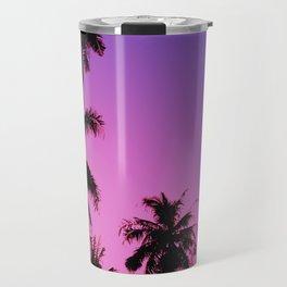 Tropical palm trees with purplish gradient Travel Mug