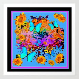 Black Decorative Blue Butterflies Floral Art Art Print