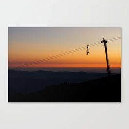 chairlift sunset Canvas Print