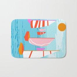 Quepasa - memphis throwback retro minimal modern neon boating yacht club sailing summer sport Bath Mat