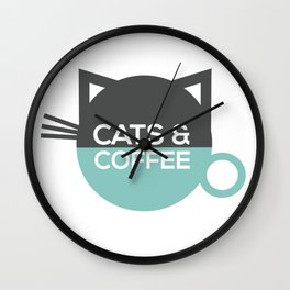 Cats and coffee Wall Clock