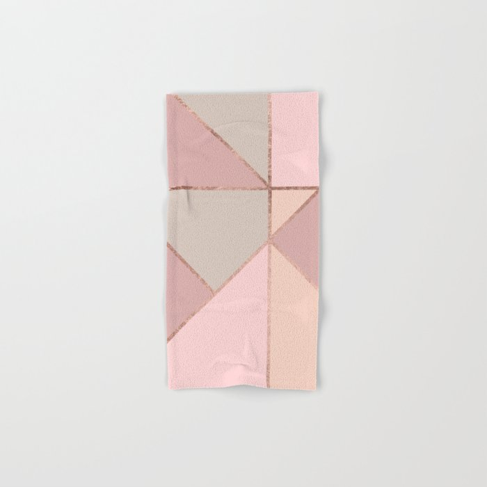 Modern rose gold peach blush pink color block Hand & Bath Towel