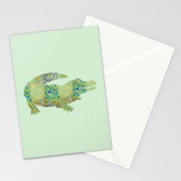 Alligator Crocodile Vintage Floral Pattern Green Teal Mint Blue Stationery Cards