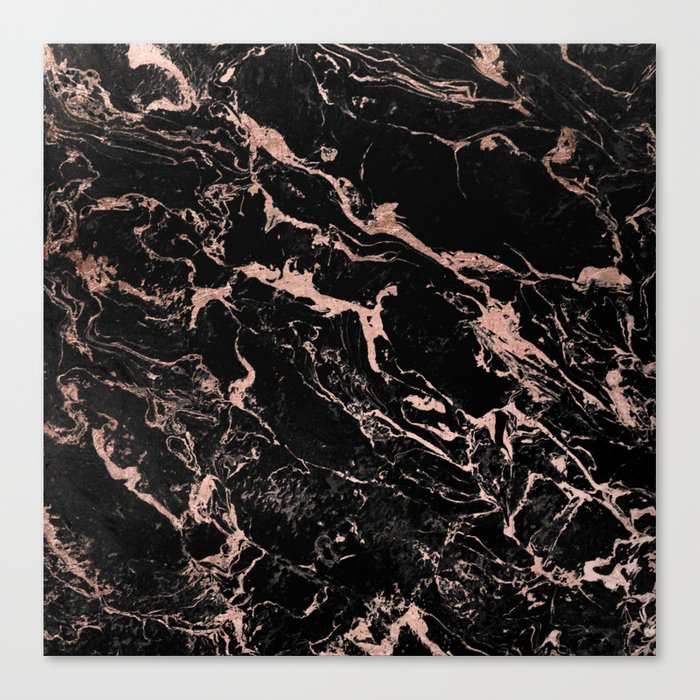 Modern Girly Faux Rose Gold Foil Black Marble Canvas Print By Girlytrend Society6