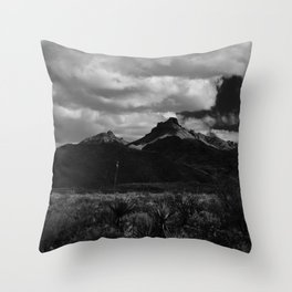 Dramatic Clouds over Mountain Range in Big Bend Throw Pillow