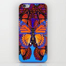 BLUE ABSTRACT MONARCH BUTTERFLIES ART iPhone Skin