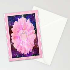 Pink flower with sparkles  Stationery Cards