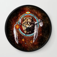 Indian Native Stark Clan Wolf Dream Catcher iPhone 4 4s 5 5s 5c, ipod, ipad, pillow case and tshirt Wall Clock