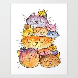 Sleeping Cats Art Print