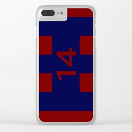 Legendary No. 14 in red and blue Clear iPhone Case