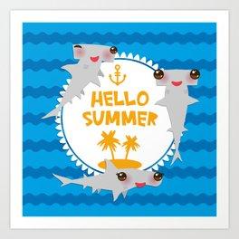 Hello Summer. Kawaii hammerhead shark Art Print