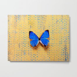 Morpho and the Blue Dots Metal Print