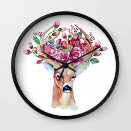 Shy watercolor floral deer Wall Clock