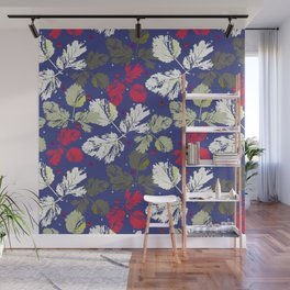 Sprigs with leaves and polka dots on blue Wall Mural