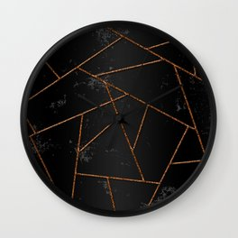 Abstract shapes with orange lines and black gradient background Wall Clock