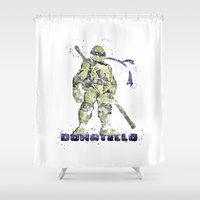 teenage mutant ninja turtles Shower Curtains featuring Donatello, Teenage Mutant Ninja Turtles by Carma Zoe