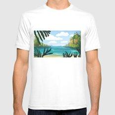 Jungle Beach Landscape Mens Fitted Tee MEDIUM White
