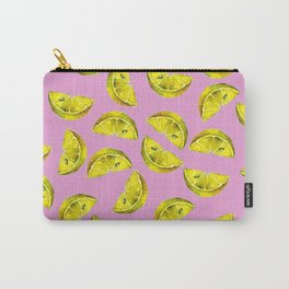 Lemon Slices Pattern Pink Carry-All Pouch