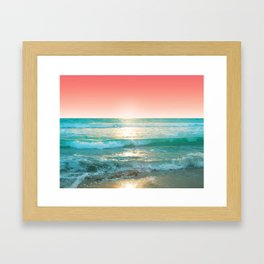 Aqua and Coral, 1 Framed Art Print