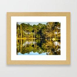 Crossing the Lake - Colorful Framed Art Print