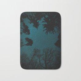 Tall Forest Trees Under a Starry Sky Bath Mat