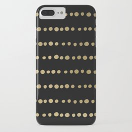 Boho Mudcloth Dots Pattern, Black and Gold iPhone Case