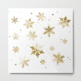 GOLD SNOWFLAKE PATTERN Metal Print