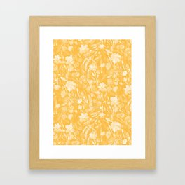 Upside Floral Golden Yellow Framed Art Print