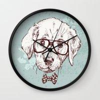 puppy Wall Clocks featuring Puppy by Iriskana