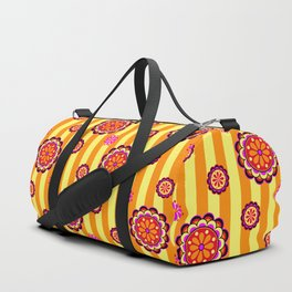 Colorful Retro Mod Flowers on Stripes Duffle Bag