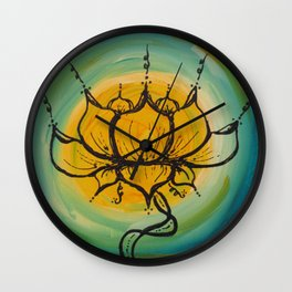 Yellow Lotus Wall Clock