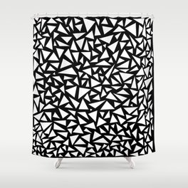 White triangles on Black background Shower Curtain
