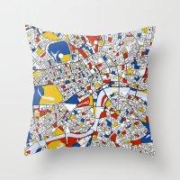 mondrian Throw Pillows featuring London Mondrian by Mondrian Maps